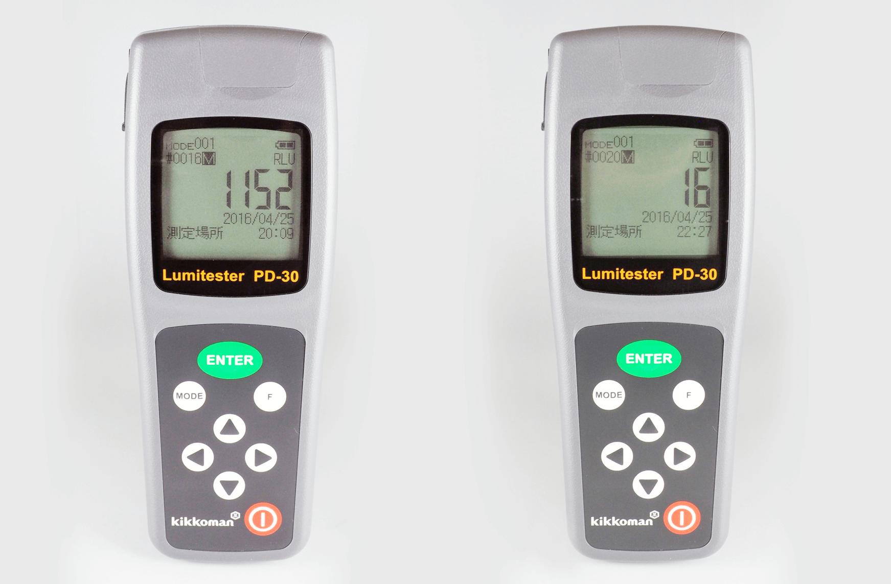 ATP測定例(洗浄前:左、洗浄後:右)